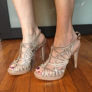 Vince Camuto Janene Jeweled Strappy Cage Heels 8.5